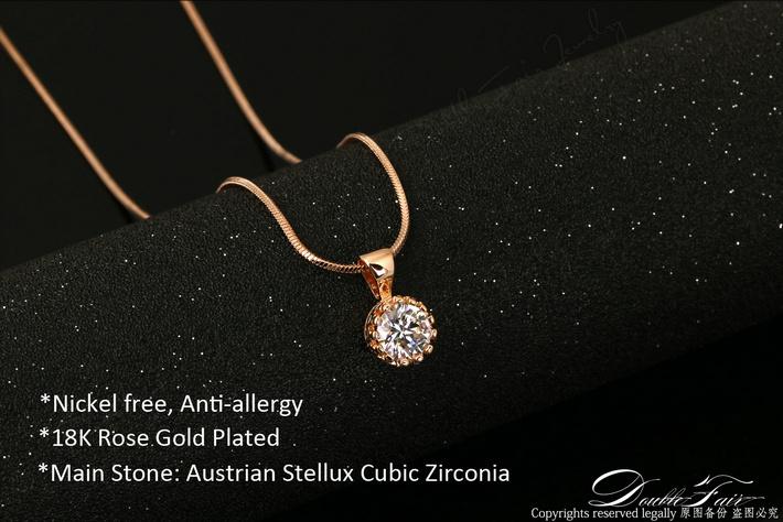 Unique crown cubic zirconia necklaces silverrose gold color chain unique crown cubic zirconia necklaces aloadofball Gallery